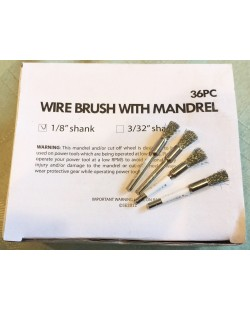 "36 piece wire brush with mandrel 1/8"" shank"